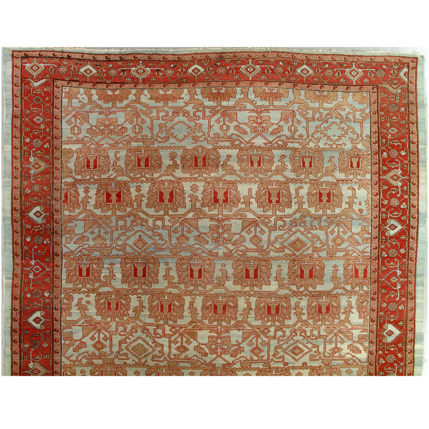 Over Size Antique Bkashaish carpet with all-over design and sky blue field