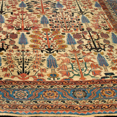 Over Size Antique Bakshaish carpet with Shrub design and ivory field