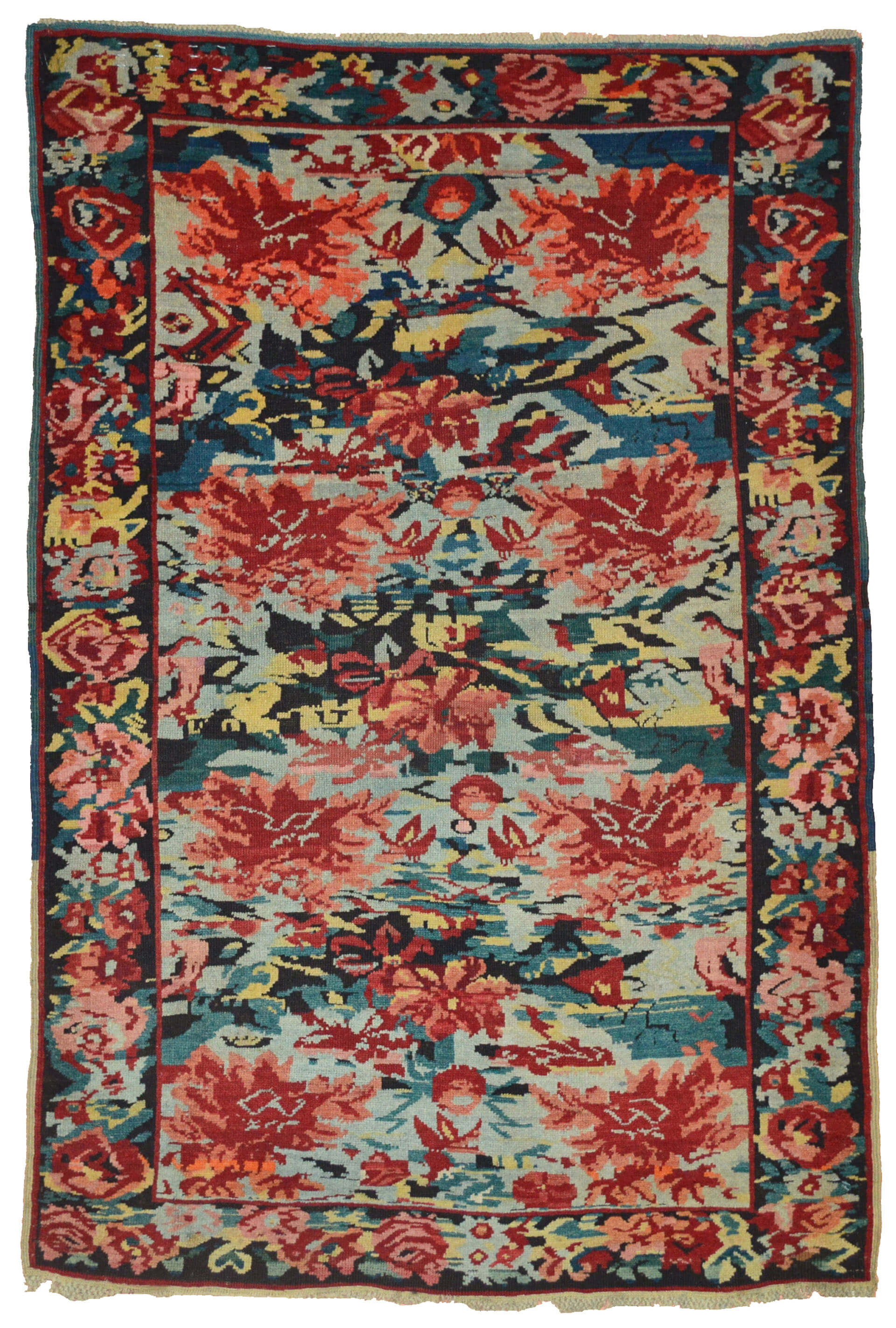 Antique Caucasian Zeichur Kuba Rug With Sky Blue Field