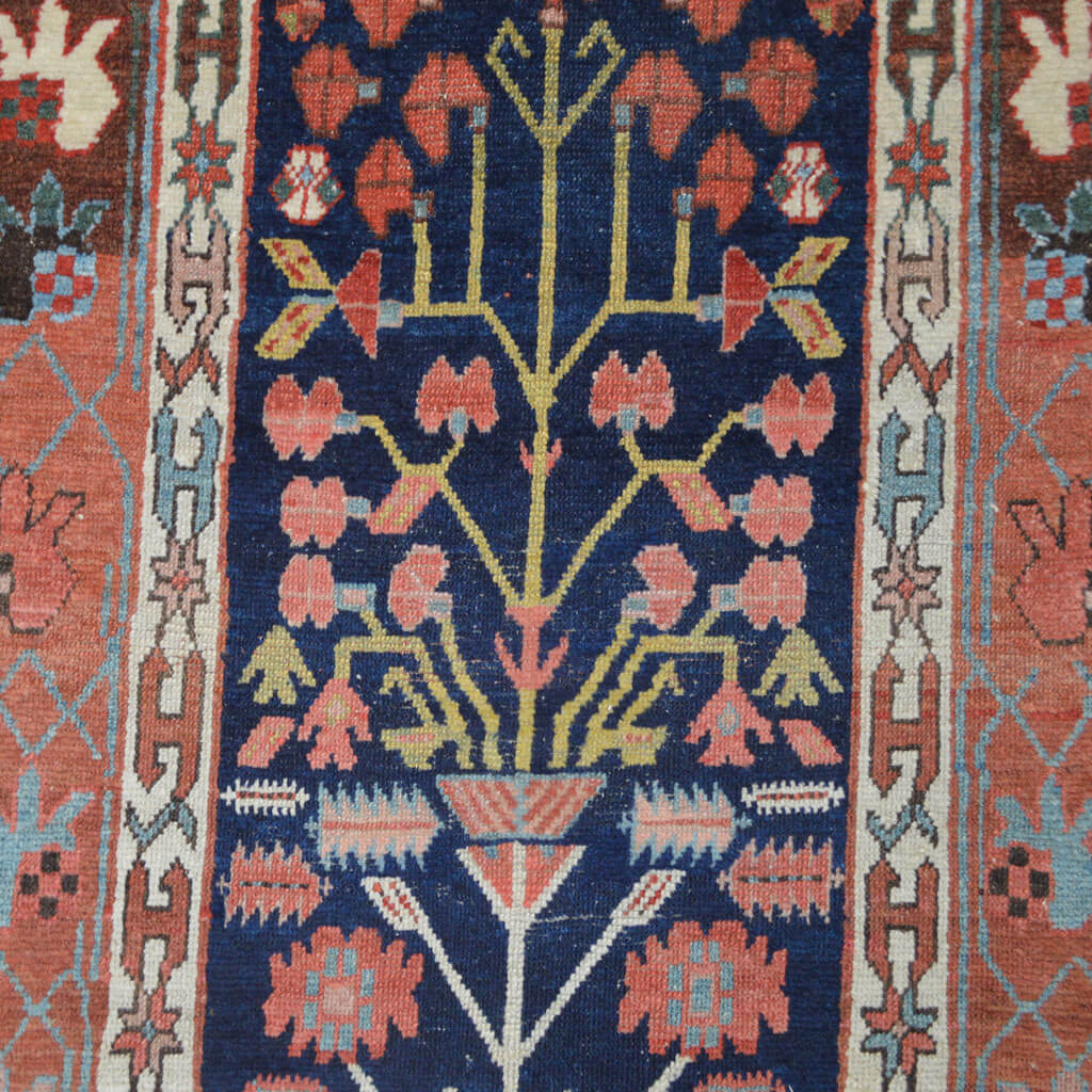 Antique Northwest Persian Runner Rug With Shrub Design