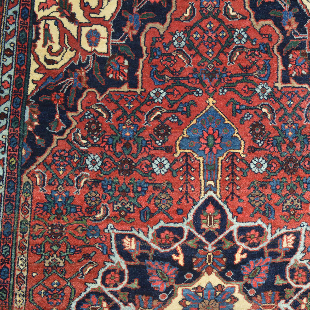 Antique Bidjar rug with medallion and Herati design