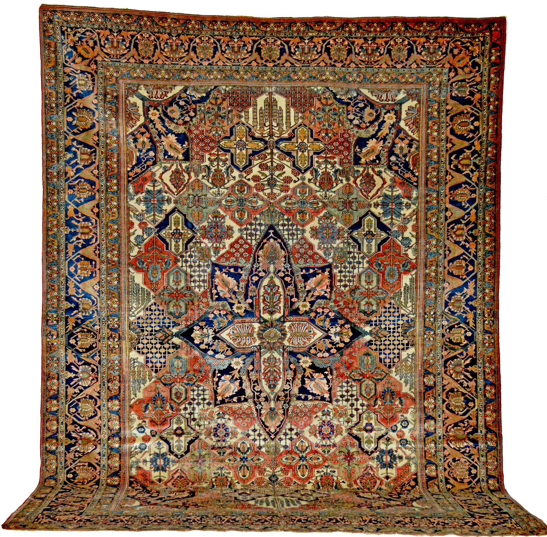 Antique Mohtashem Kashan carpet with Garden panel design