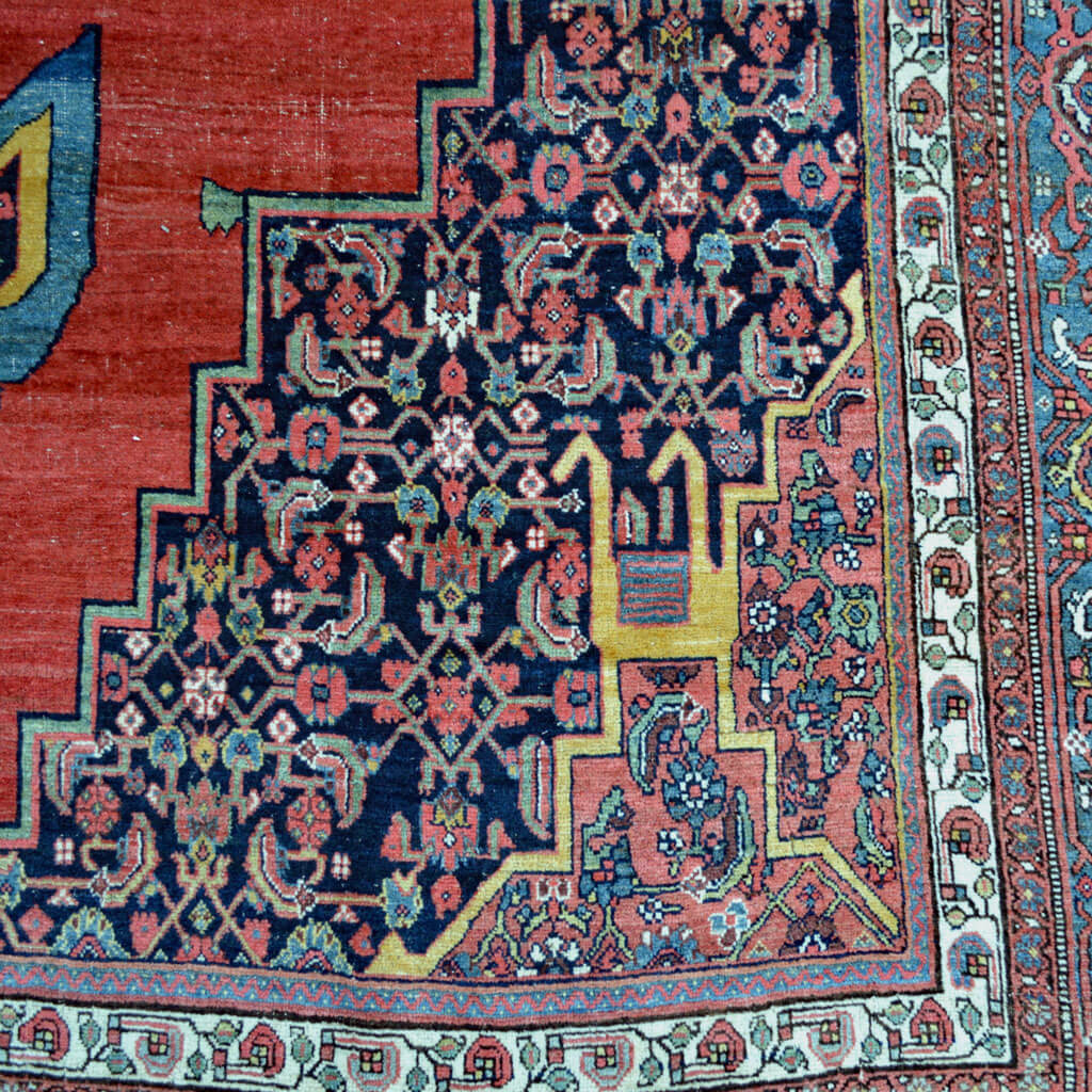 9.7 x 14.5 Antique Bidjar carpet with open field design and medallion with anchor pendants