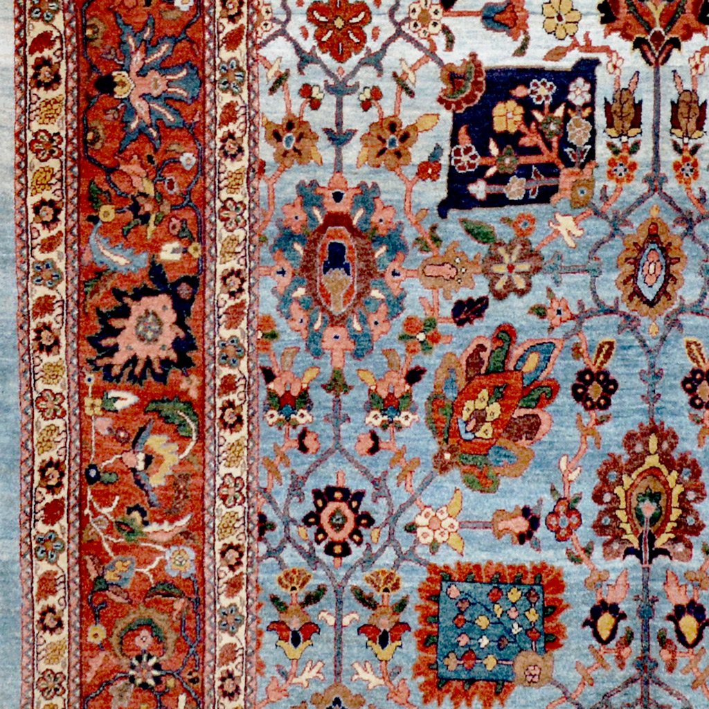 Contemporary natural dye Persian Bidjar carpet with classical Vase design