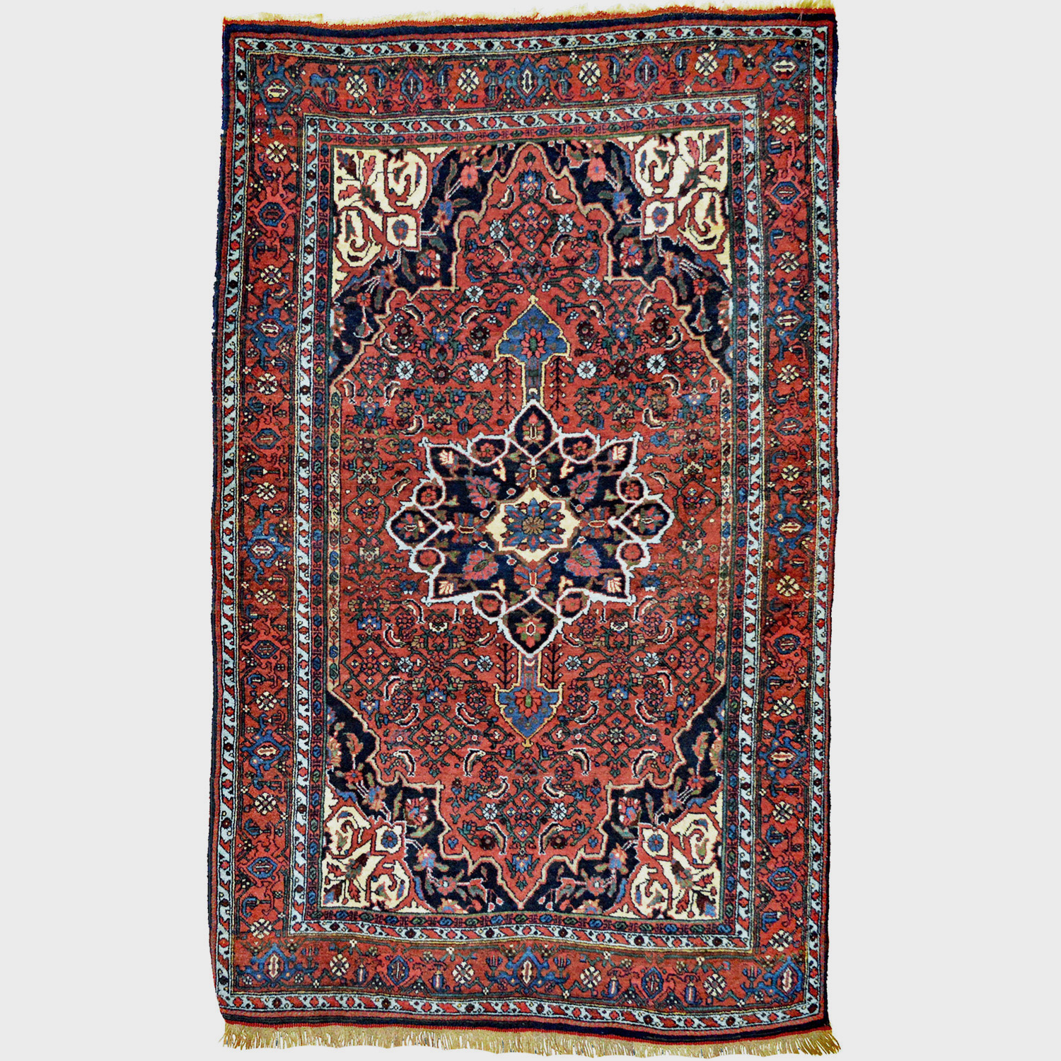 4.1 x 6.8 Antique Bidjar rug with Herati design and central medallion