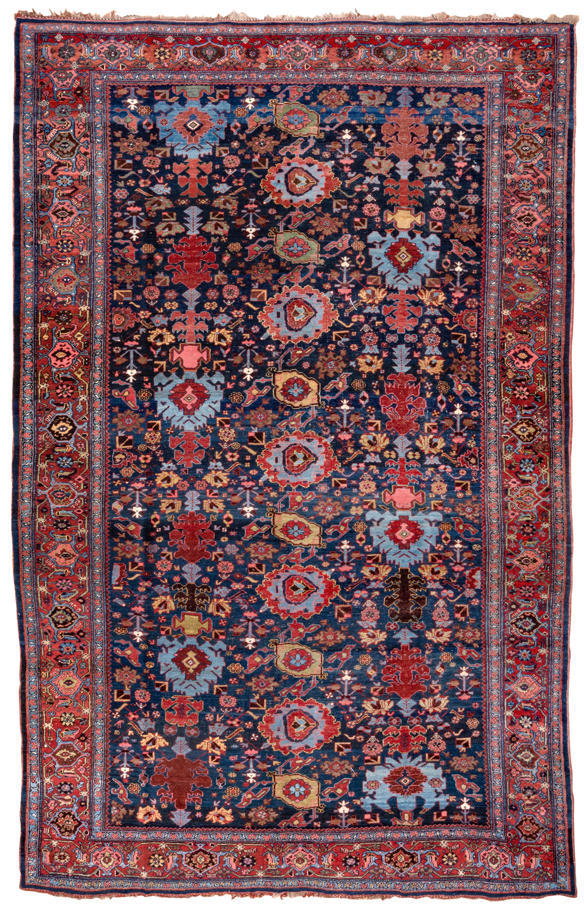 """Antique Persian Bidjar carpet with the Harshang design on a navy blue field. A red """"Turtle"""" design border frames the field."""